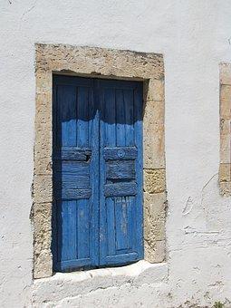 Door, Greece, Blue, Island, Sea, Tourism, Hellas