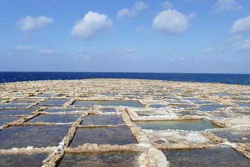 Malta, Zoutveld, Landscape, Sea, Coast