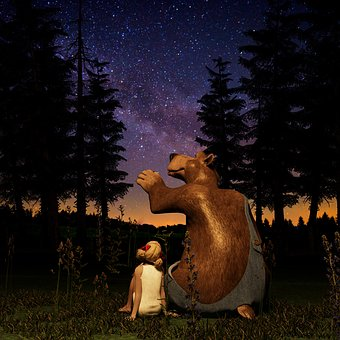 Bear, Girl, Wild Animal, Nature, Sky, Star, Sunset