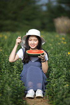 Girl, Girl And Watermelon, Women, Sunny, Flower, Young