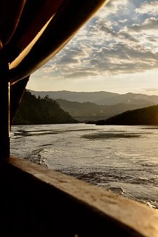 Asia, Mekong River, Thailand, Laos, Sunset, River