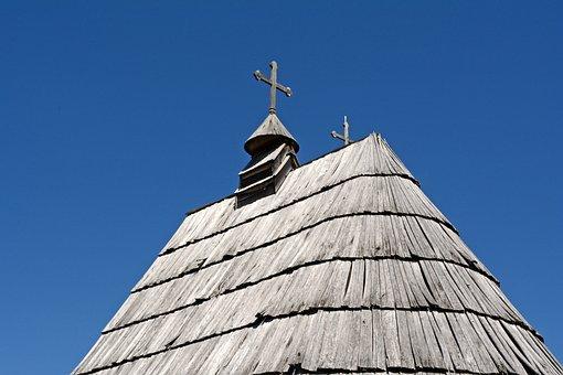 Wooden Roof, Top, Housing, Cross, High, Construction