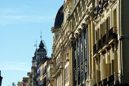 Madrid, Via Large, Facades, Architecture, Balconies