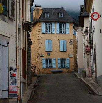 France, Street, Street In Europe, Blue Shutters