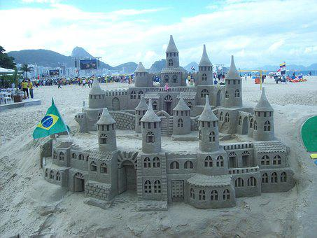 Copacabana, Brazil, Rio, Beach, Sand Sculpture, Castle