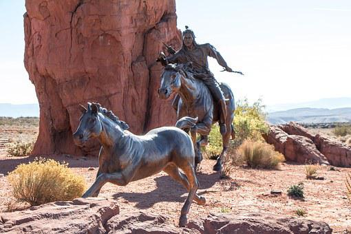 Bronze Sculpture, Native, American, West, Wild, Musting