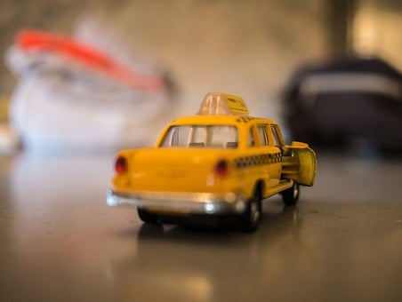 Taxi, Yellow, Car, Transportation, Toy, Vehicle, Cap