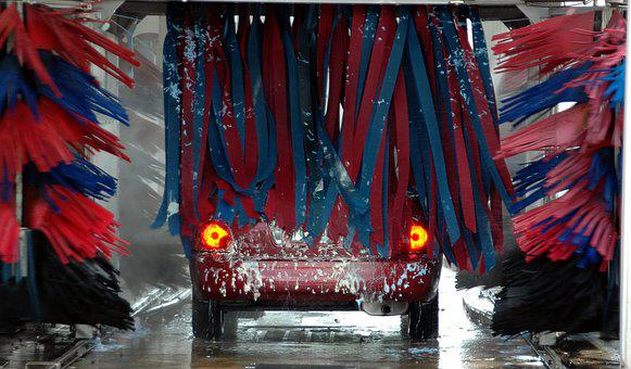 Car Wash, Motion, Brushes, Clean, Business, Car, Water