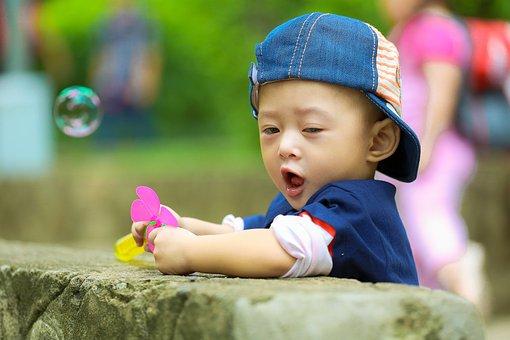 Child, Kid, Ku Shin, The Park, Play, Soap Bubbles