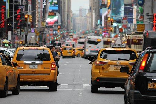 City, Crowded, Taxi, Yellow, Traffic, Plugin, Smog