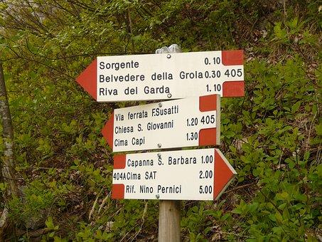 Signs, Signposts, Directory, Keeps, Via Ferrata, Garda