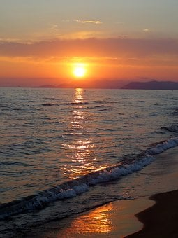 Beach, Mar, Sunset, Sol, Eventide, Beira Mar, Italy