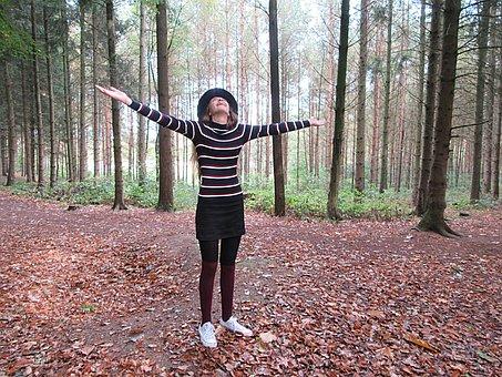 Teen, Pose, Hat, Spontaneous, Forest, Autumn, Fir Tree