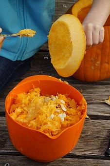 Hollow Out, Scrape Off, Remove, Remove Pulp, Pumpkin