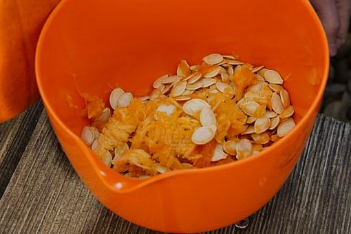 Pumpkin Seeds, Fresh, Inner, Pulp, Pumpkin, Bowl
