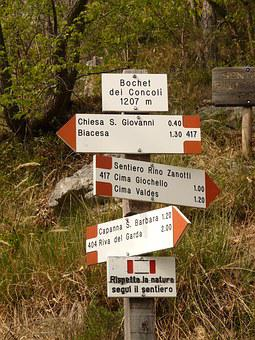 Signs, Signposts, Directory, Keeps, Via Ferrata, Garda