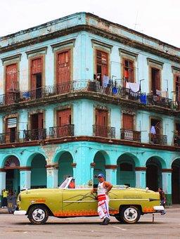 Car, Cuba, Taxi, Life, Man, Street, Locals, People