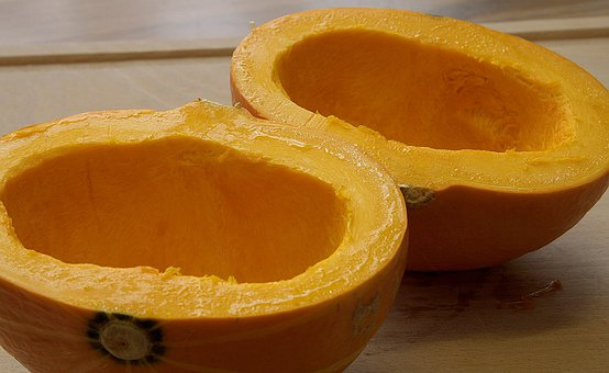 Pumpkin, Pumpkin Halves, Pulp, Cut In Half, Food, Eat