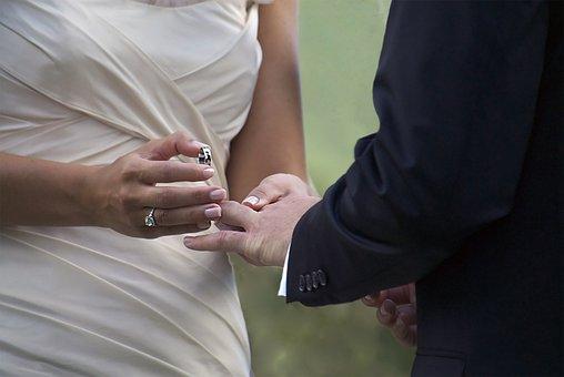 Wedding, Bride, Groom, Rings, Ring, Finger, Suit