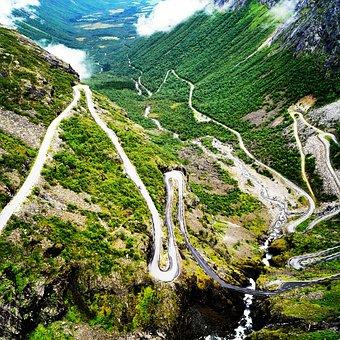 Norway, Troll Head, Serpentine, Nature, Road