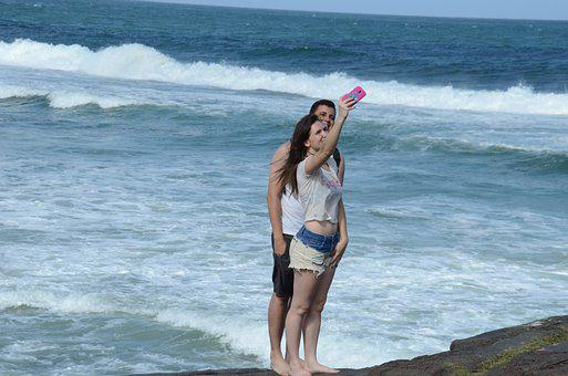 Selfie, Casal, Beach, Boyfriends, Litoral, Mar, Summer
