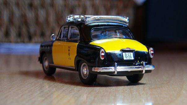 Taxi, Barcelona, 60's, Miniature, Boot, Yellow