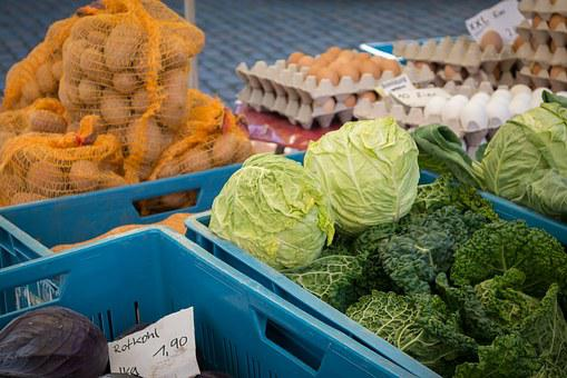 Vegetables, Market, Vegetable Stand, Kohl, Egg