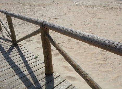 Beach, Web, Wood, Sand, Heiss, Footprints, Andalusia
