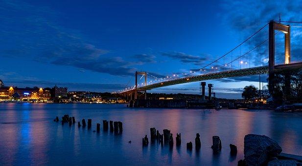 älvsborgsbron, Gothenburg, Sunset, Night, Sweden