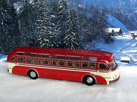 Model Car, Bus, Coach, Winter, Diorama, Mb