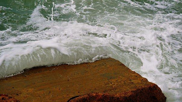 Peniche, Portugal, Ocean, Waves, Crashing, Cliff, Stone