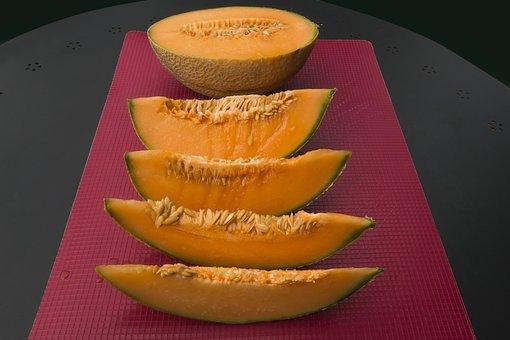 Melon, Orange, Cores, Knife, Cut In Half, District