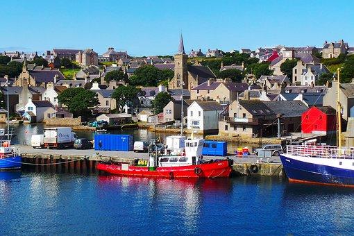 Orkney, Scrabster, Pier, Blue, Harbor, Harbour