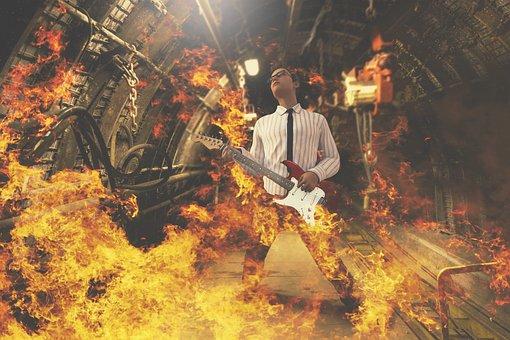 Guitarist, Fire, Rock, Hard Rock, Guitar Player, Hot