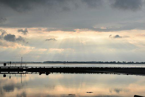 Sea, Abendstimmung, Jetty, Clouds, Water, Mood, Nature