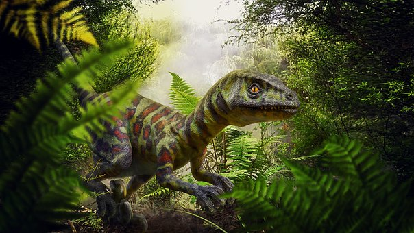 Dinosaur, Raptor, Jungle, Fern, Cretaceous Period