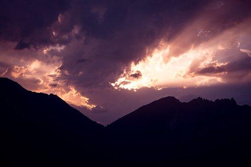 Sky, Landscape, Sunrise, Lighting, Clouds, Mountains