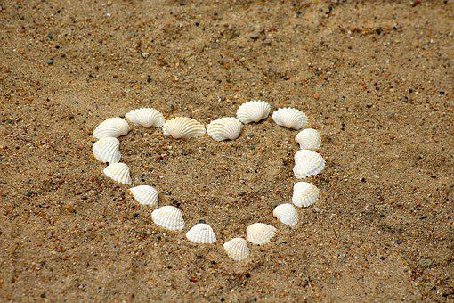 Heart, Shells, Sand, Symbol, Romanticism, Nature, Beach