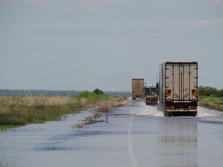 Flood, Road Train, Truck, Road, Kimberley, Transport