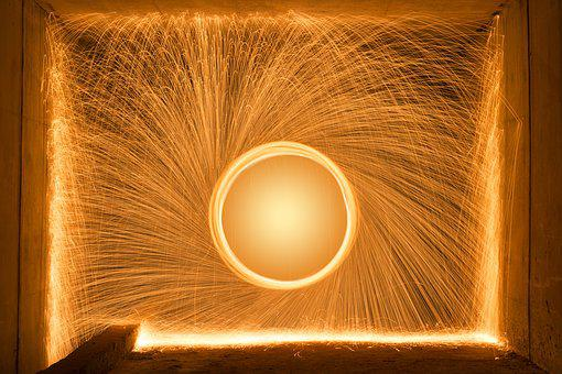Light Painting, Round, Tunnel, Gold, Firework, Light