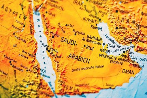Map, Saudi Arabia, Country, Borders, States Of America
