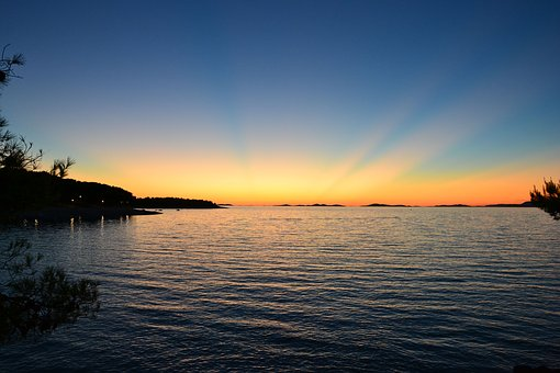 Sea, Sunset, Lake, Holidays, Evening, Romantic Evening