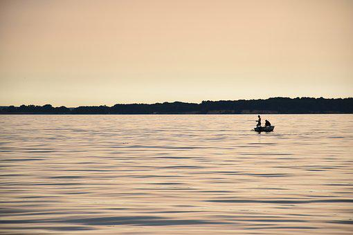 Angler, Evening Sun, Sea, Sunset, Mood, Twilight