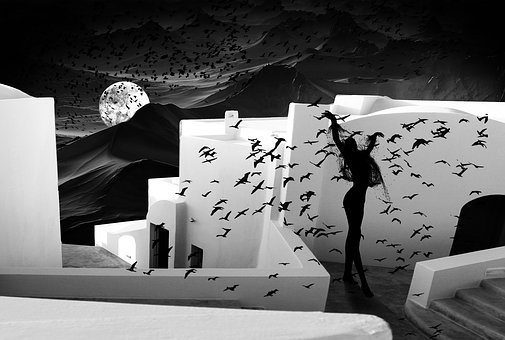 Birds, House, White, Black White, Woman, Dance, Shaman