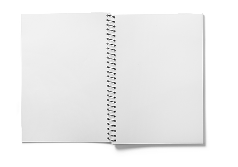 Spiral Notebook, Notebook, Open, Empty Pages, Isolated