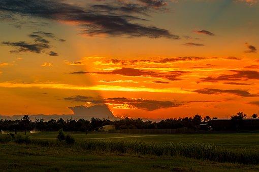 Sunset, Golf Course, Summer, Outdoor, Sprinklers