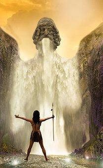 Waterfall, Water, Girl, Warrior, River, Lights