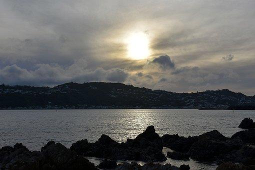 Sunset, Sun, Beach, Wellington, Sea, Sky, Water