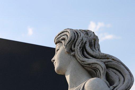 Woman Statue, Profil, Sculpture, Stone, Monument