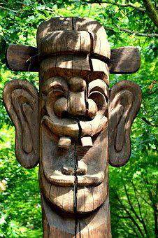 Art, Sculpture, Face, Wood, Log